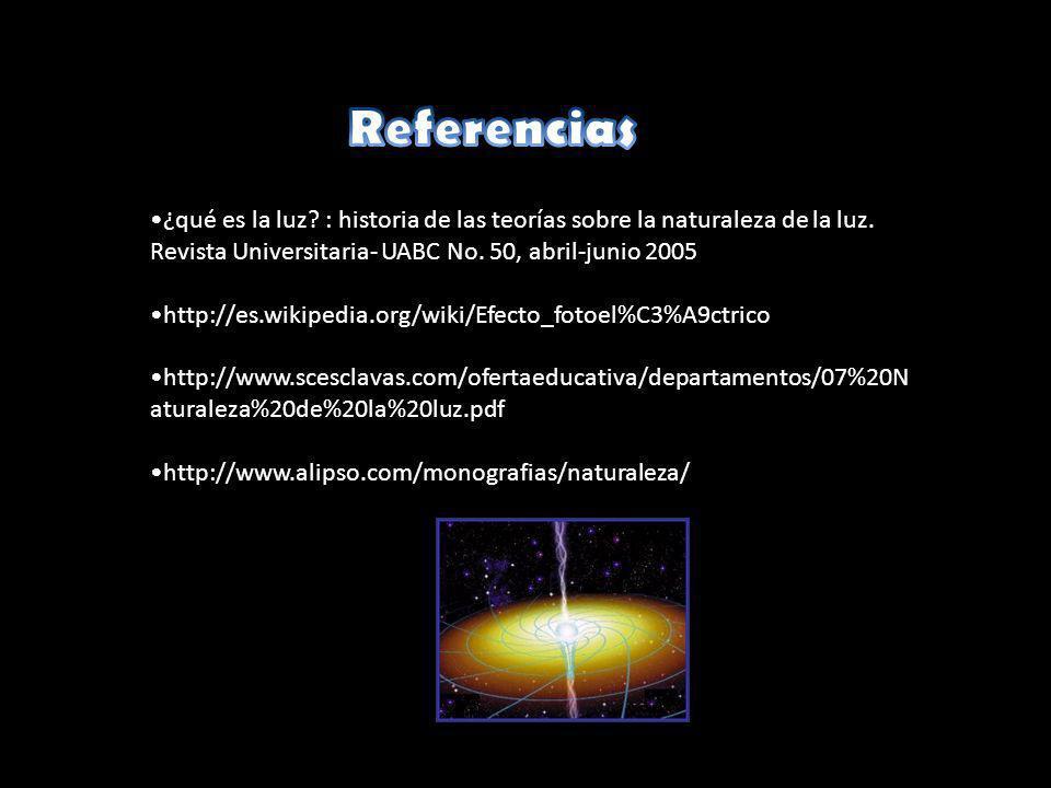 Referencias ¿qué es la luz : historia de las teorías sobre la naturaleza de la luz. Revista Universitaria- UABC No. 50, abril-junio 2005.