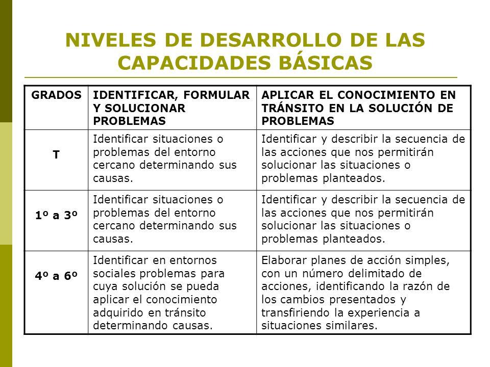NIVELES DE DESARROLLO DE LAS CAPACIDADES BÁSICAS