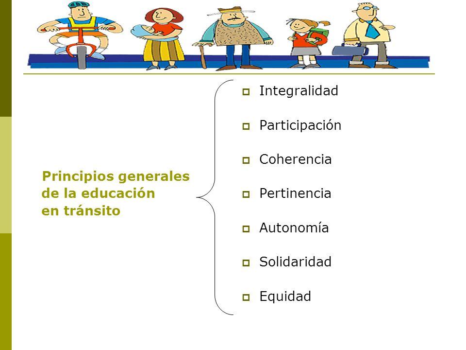 Principios generales de la educación. en tránsito. Integralidad. Participación. Coherencia. Pertinencia.