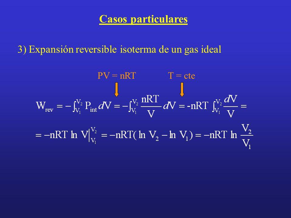 Casos particulares 3) Expansión reversible isoterma de un gas ideal