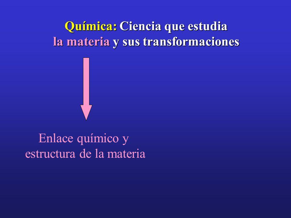 Química: Ciencia que estudia la materia y sus transformaciones