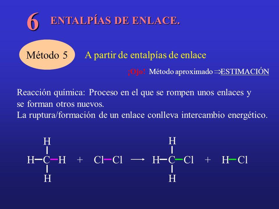 6 ENTALPÍAS DE ENLACE. Método 5 H H C H + Cl Cl H C Cl + H Cl