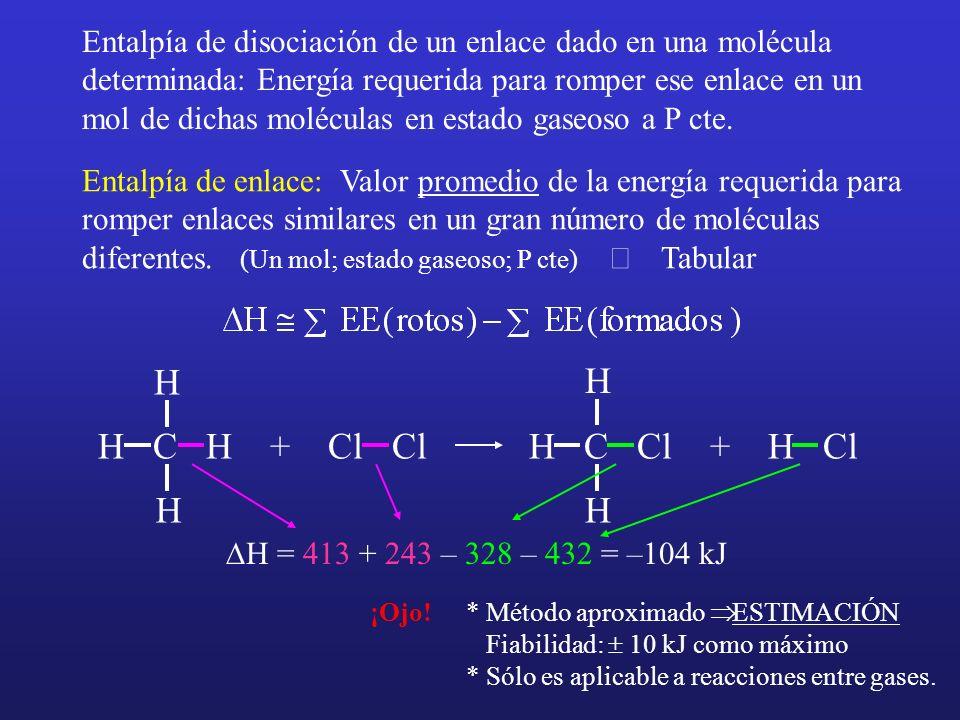 Entalpía de disociación de un enlace dado en una molécula determinada: Energía requerida para romper ese enlace en un mol de dichas moléculas en estado gaseoso a P cte.