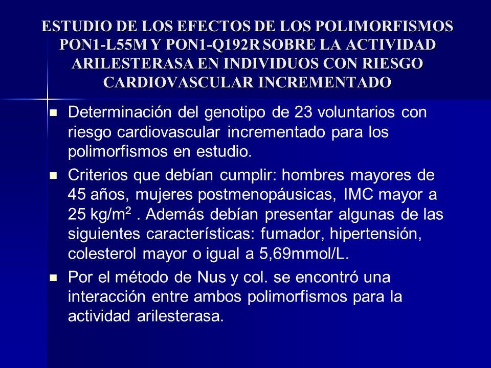 ESTUDIO DE LOS EFECTOS DE LOS POLIMORFISMOS PON1-L55M Y PON1-Q192R SOBRE LA ACTIVIDAD ARILESTERASA EN INDIVIDUOS CON RIESGO CARDIOVASCULAR INCREMENTADO