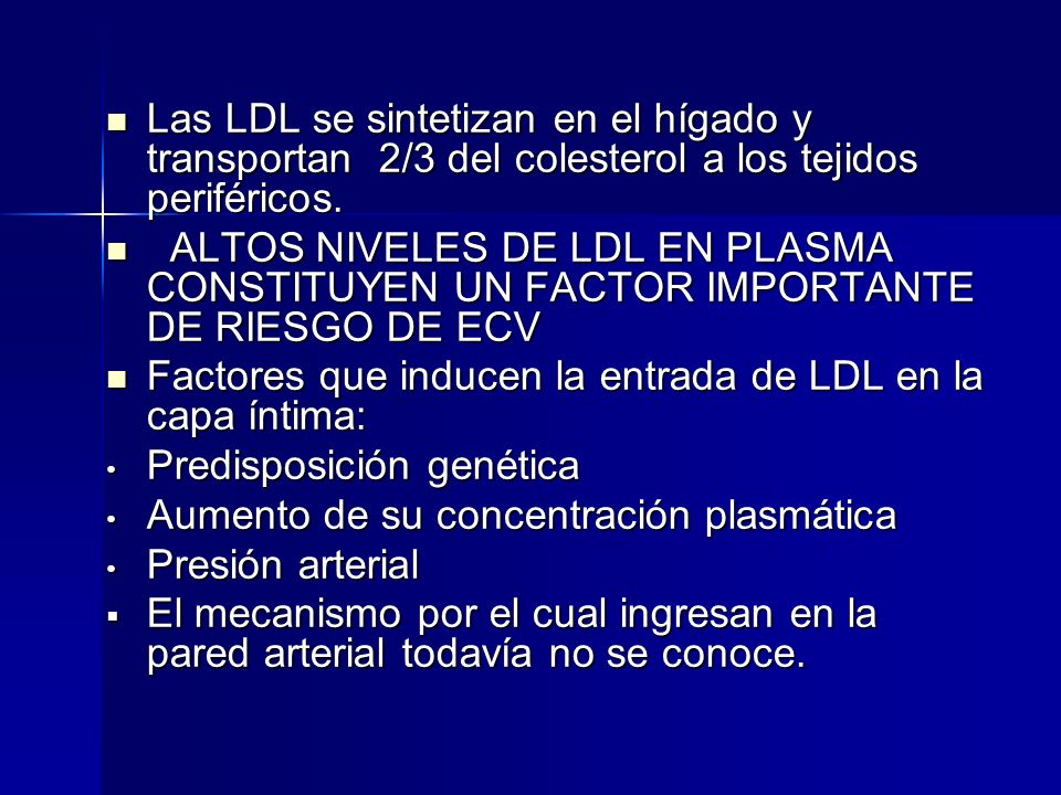Las LDL se sintetizan en el hígado y transportan 2/3 del colesterol a los tejidos periféricos.
