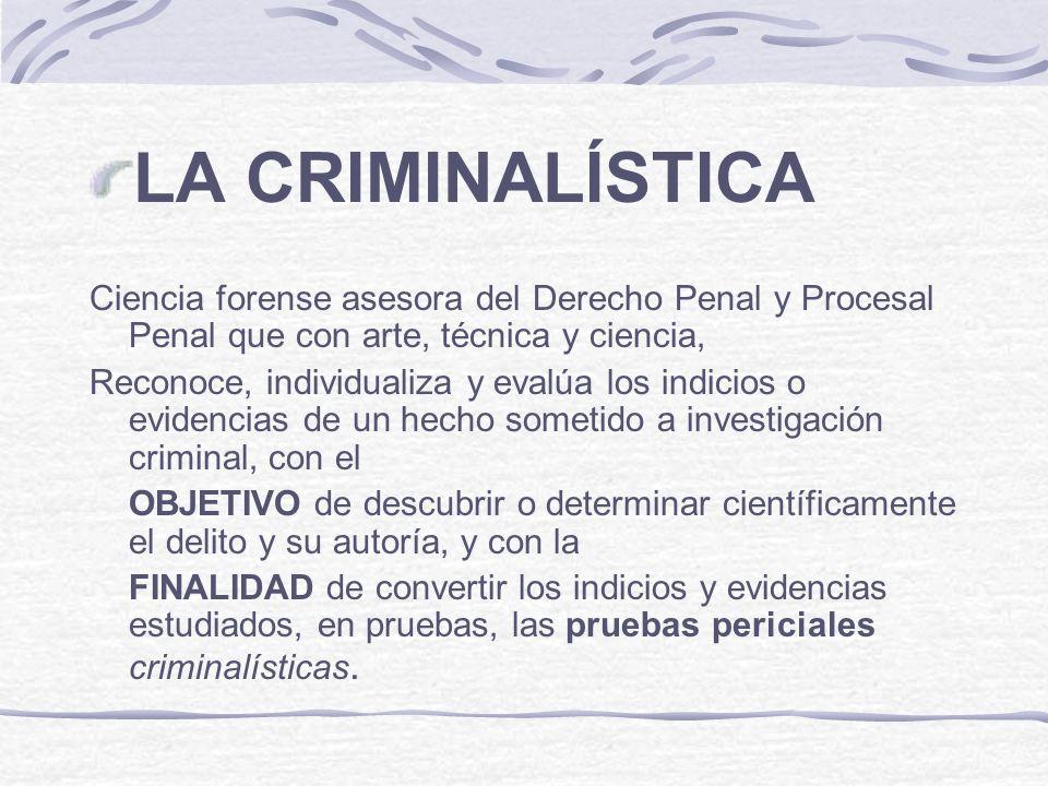 LA CRIMINALÍSTICA Ciencia forense asesora del Derecho Penal y Procesal Penal que con arte, técnica y ciencia,