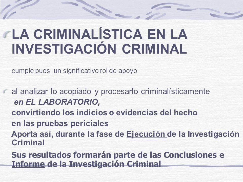 LA CRIMINALÍSTICA EN LA INVESTIGACIÓN CRIMINAL