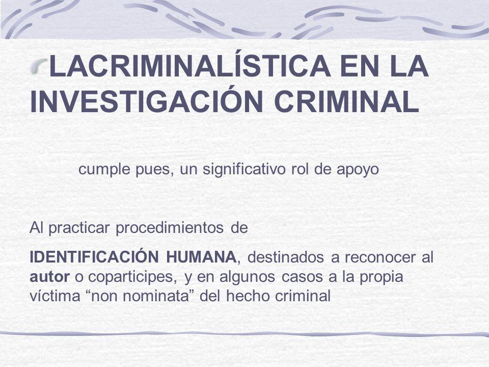 LACRIMINALÍSTICA EN LA INVESTIGACIÓN CRIMINAL