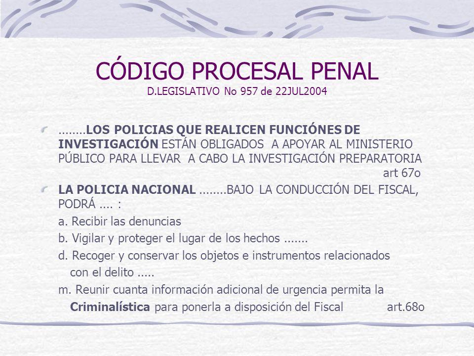 CÓDIGO PROCESAL PENAL D.LEGISLATIVO No 957 de 22JUL2004
