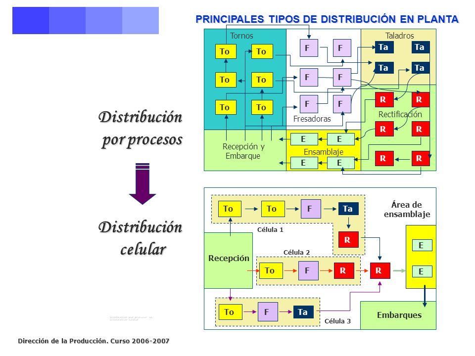 Distribución por procesos Distribución celular