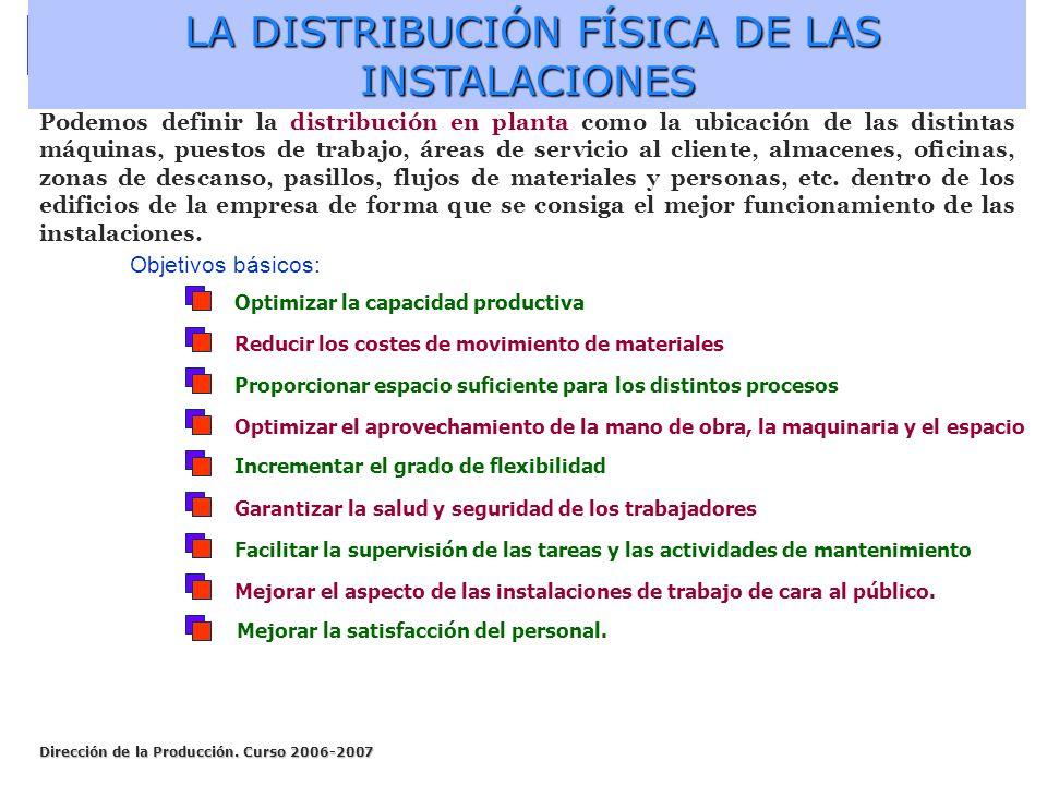LA DISTRIBUCIÓN FÍSICA DE LAS INSTALACIONES