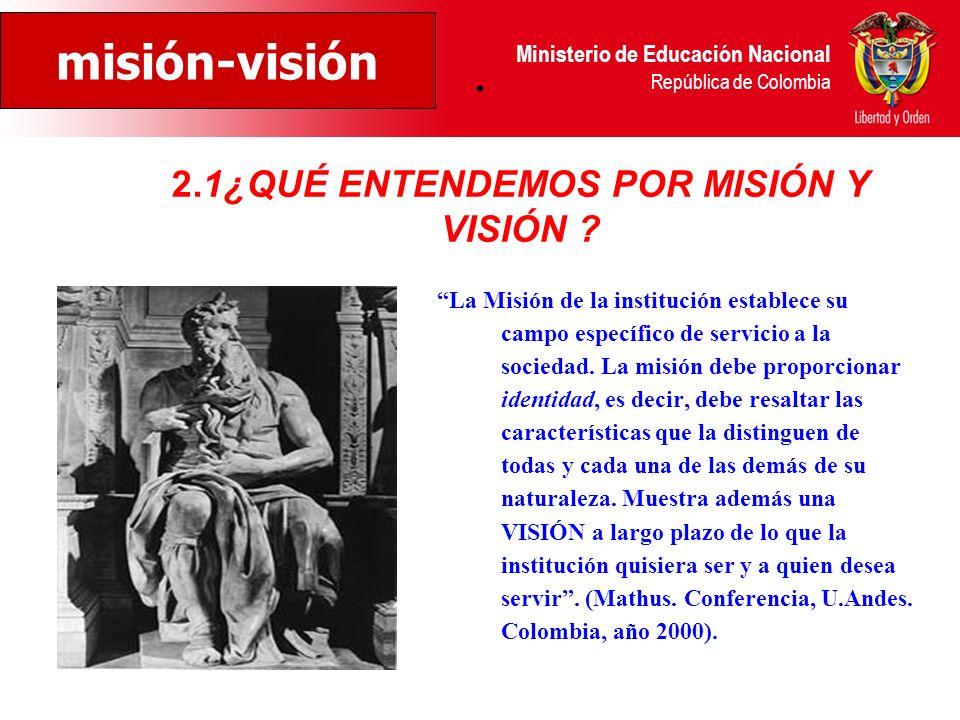 2.1¿QUÉ ENTENDEMOS POR MISIÓN Y VISIÓN