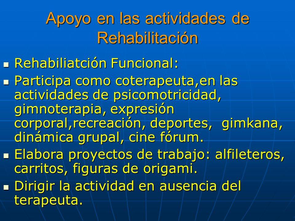Apoyo en las actividades de Rehabilitación