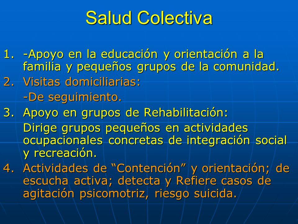 Salud Colectiva 1. -Apoyo en la educación y orientación a la familia y pequeños grupos de la comunidad.