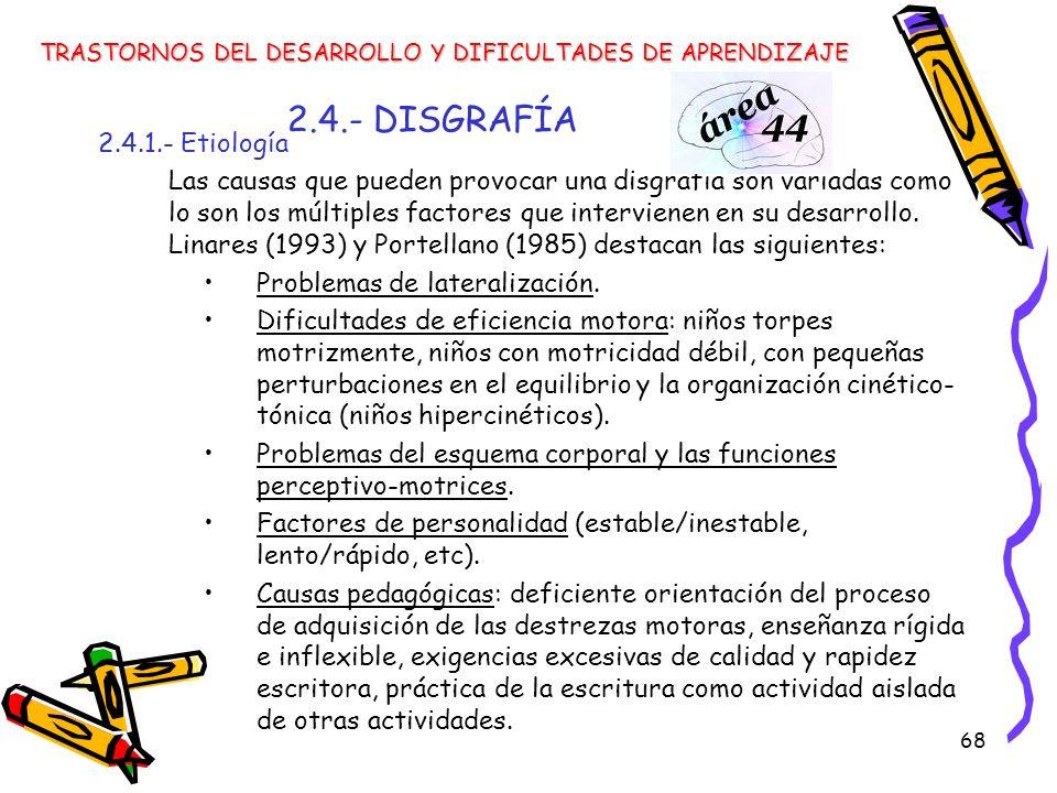 2.4.- DISGRAFÍA 2.4.1.- Etiología