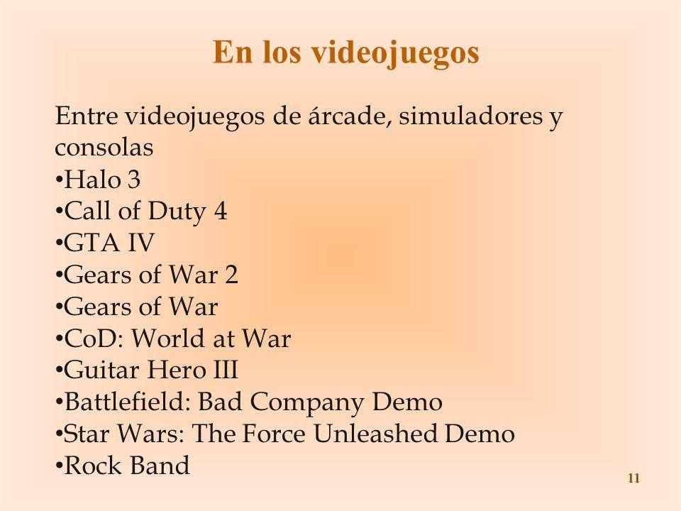 En los videojuegos Entre videojuegos de árcade, simuladores y consolas