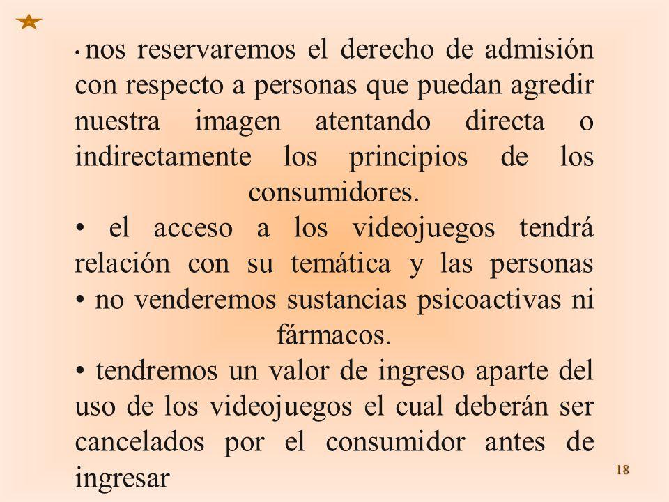 • nos reservaremos el derecho de admisión con respecto a personas que puedan agredir nuestra imagen atentando directa o indirectamente los principios de los consumidores.