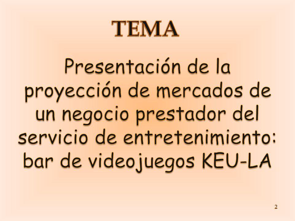 TEMA Presentación de la proyección de mercados de un negocio prestador del servicio de entretenimiento: bar de videojuegos KEU-LA.