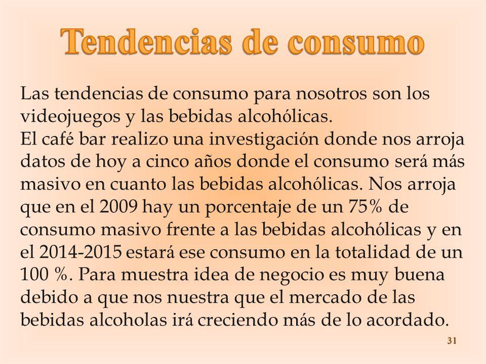 Tendencias de consumo Las tendencias de consumo para nosotros son los videojuegos y las bebidas alcohólicas.