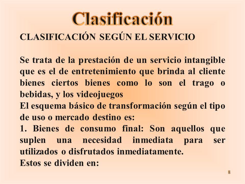 Clasificación CLASIFICACIÓN SEGÚN EL SERVICIO