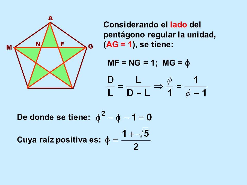 A Considerando el lado del pentágono regular la unidad, (AG = 1), se tiene: N. F. M. G. MF = NG = 1; MG = 