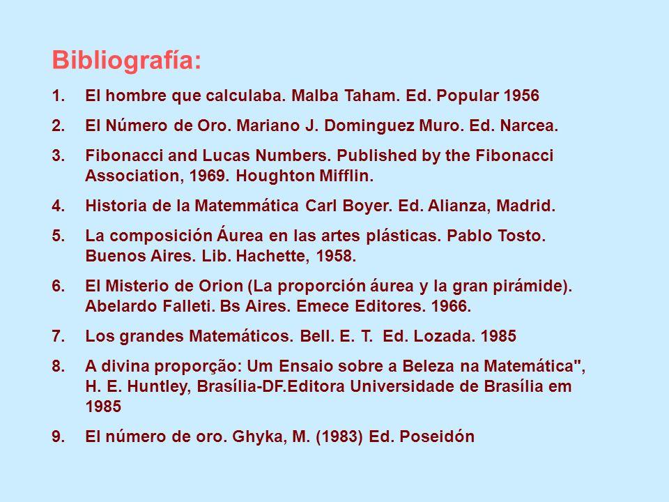 Bibliografía: El hombre que calculaba. Malba Taham. Ed. Popular 1956