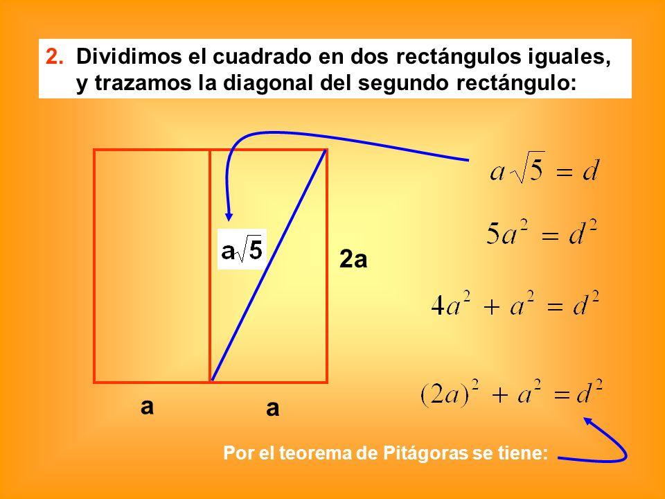 2a a a 2. Dividimos el cuadrado en dos rectángulos iguales,
