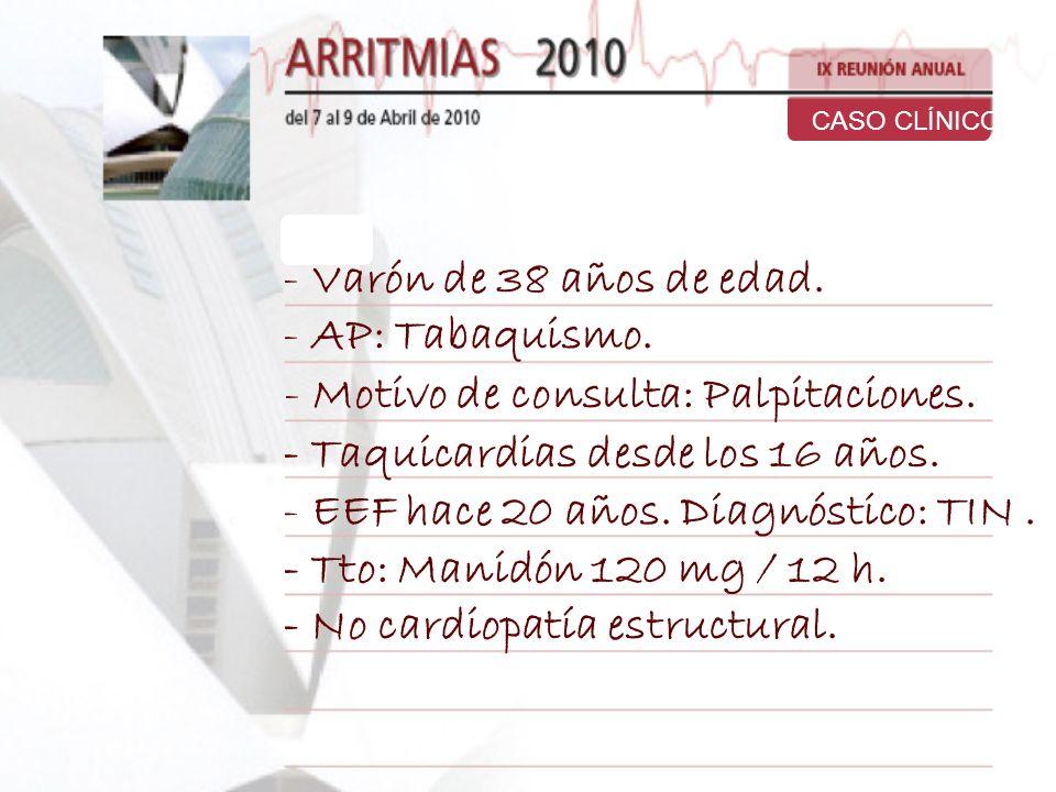 Motivo de consulta: Palpitaciones. - Taquicardias desde los 16 años.