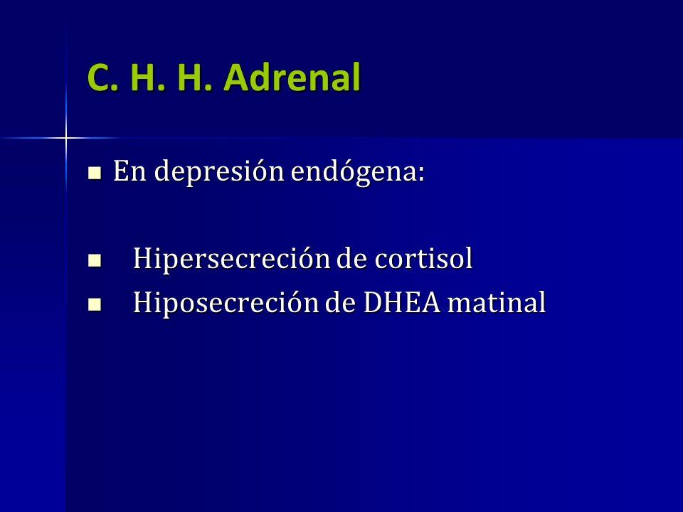 C. H. H. Adrenal En depresión endógena: Hipersecreción de cortisol