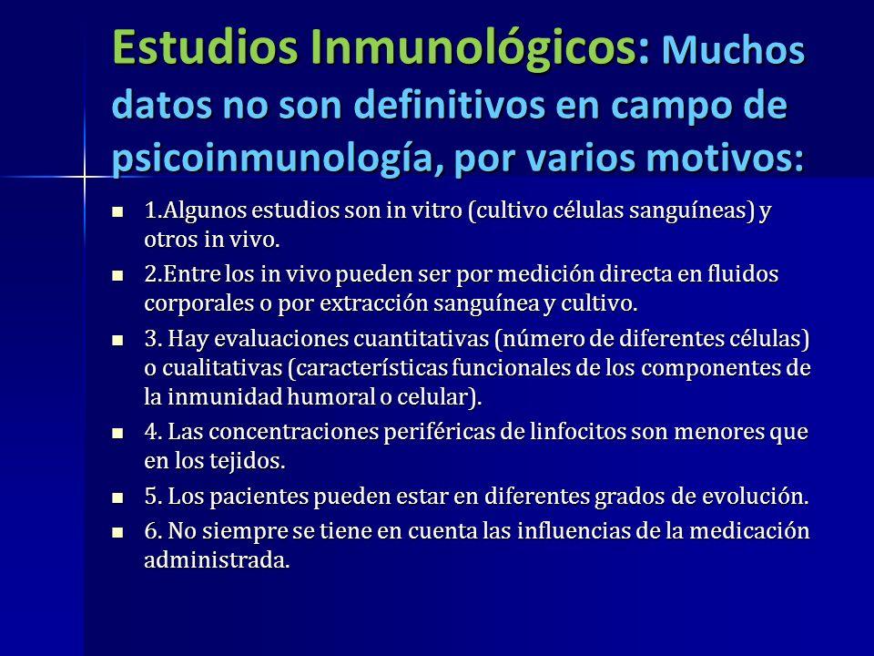 Estudios Inmunológicos: Muchos datos no son definitivos en campo de psicoinmunología, por varios motivos: