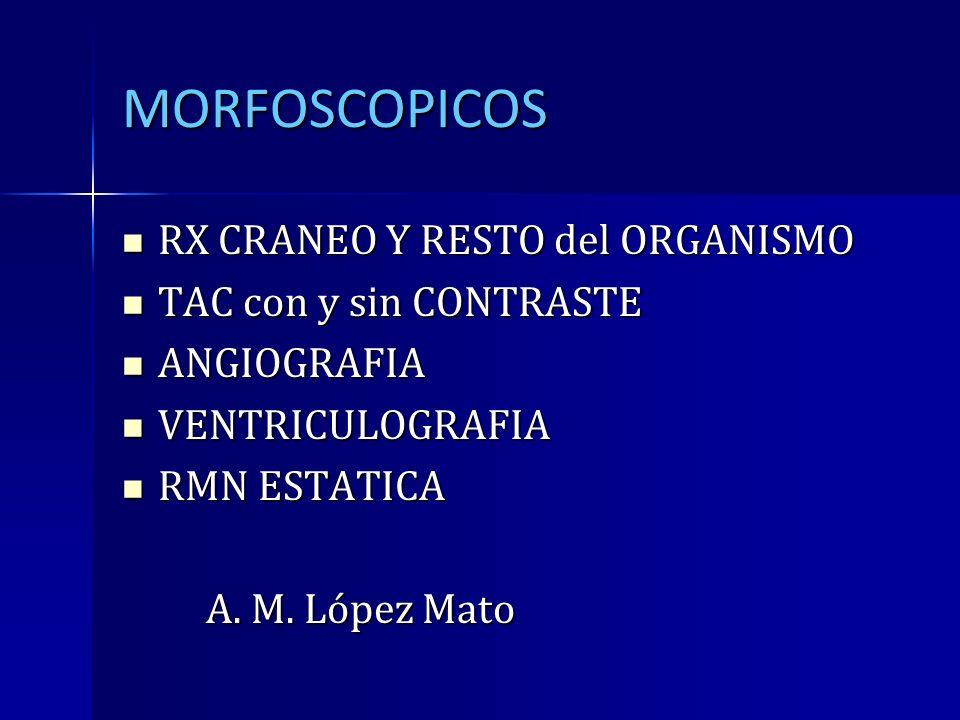 MORFOSCOPICOS RX CRANEO Y RESTO del ORGANISMO TAC con y sin CONTRASTE