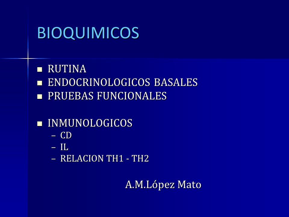 BIOQUIMICOS RUTINA ENDOCRINOLOGICOS BASALES PRUEBAS FUNCIONALES