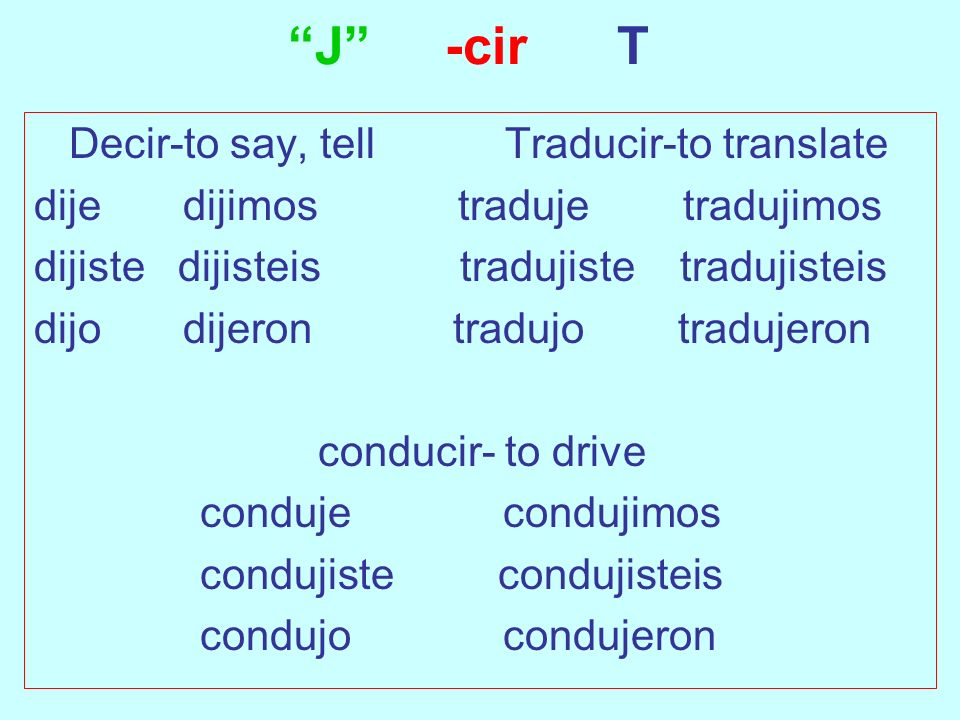 J -cir T Decir-to say, tell Traducir-to translate