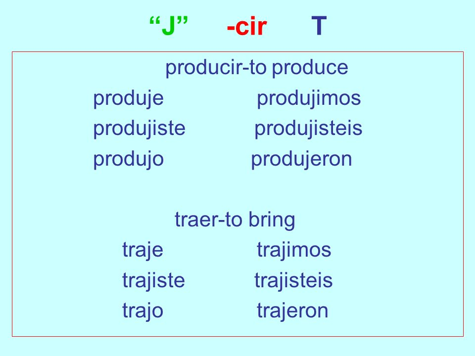 J -cir T producir-to produce produje produjimos