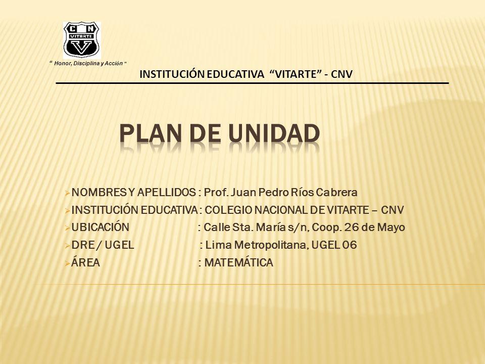 PLAN DE UNIDAD NOMBRES Y APELLIDOS : Prof. Juan Pedro Ríos Cabrera