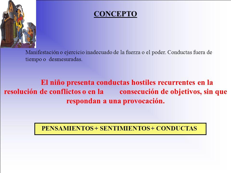 PENSAMIENTOS + SENTIMIENTOS + CONDUCTAS
