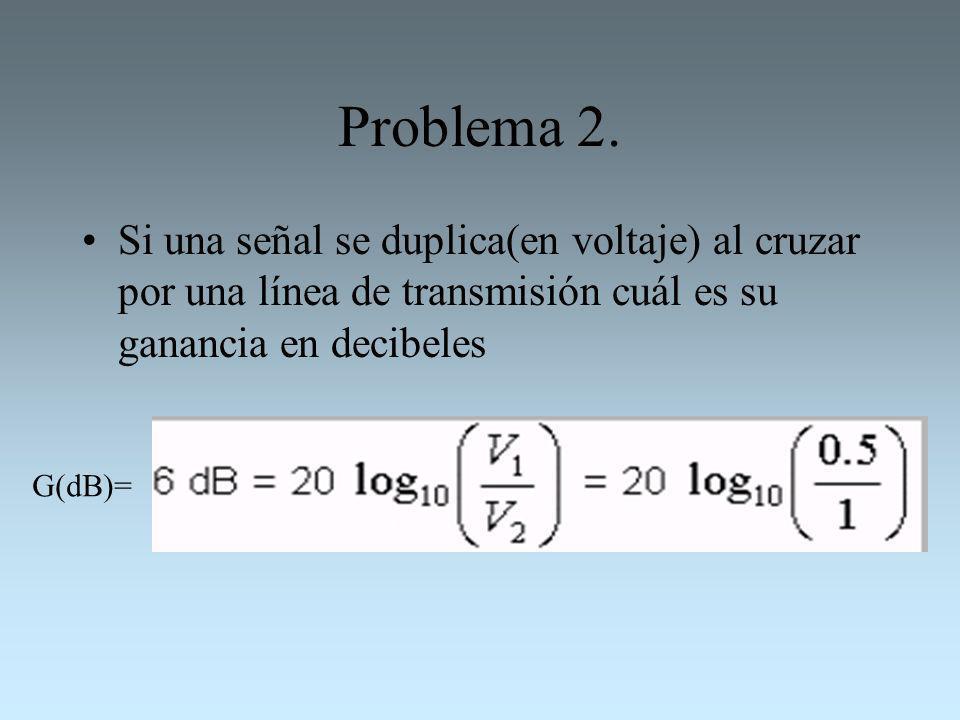 Problema 2.Si una señal se duplica(en voltaje) al cruzar por una línea de transmisión cuál es su ganancia en decibeles.