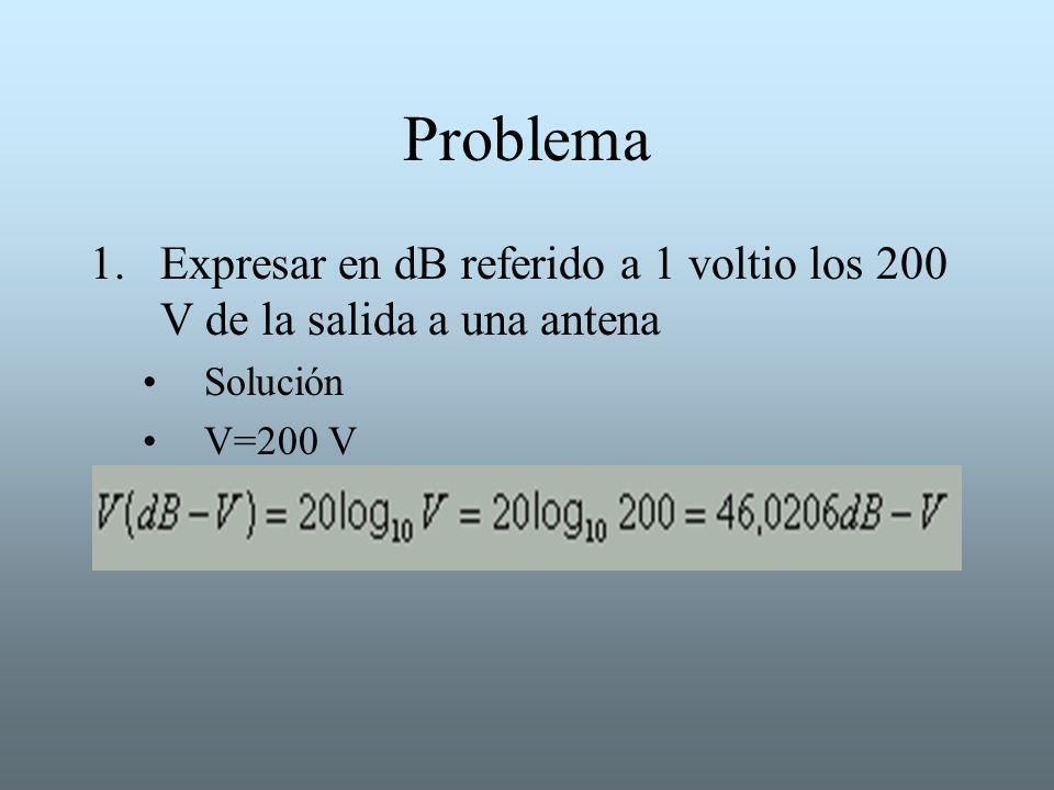 Problema Expresar en dB referido a 1 voltio los 200 V de la salida a una antena Solución V=200 V