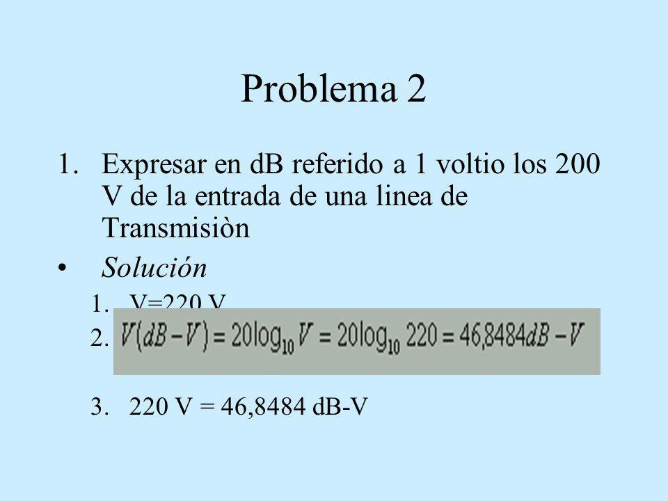 Problema 2Expresar en dB referido a 1 voltio los 200 V de la entrada de una linea de Transmisiòn. Solución.