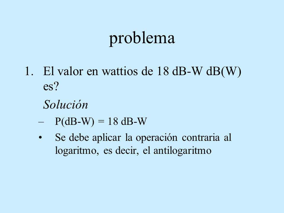 problema El valor en wattios de 18 dB-W dB(W) es Solución