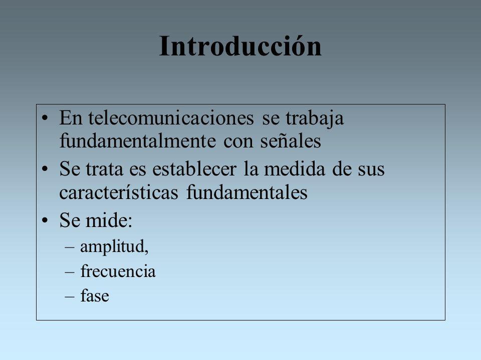 Introducción En telecomunicaciones se trabaja fundamentalmente con señales. Se trata es establecer la medida de sus características fundamentales.