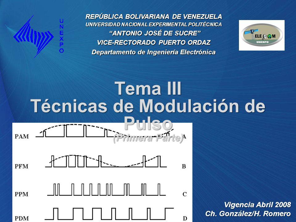 Tema III Técnicas de Modulación de Pulso (Primera Parte)