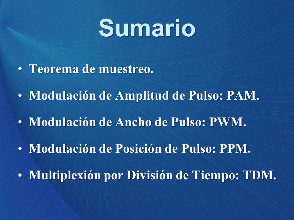 Sumario Teorema de muestreo. Modulación de Amplitud de Pulso: PAM.