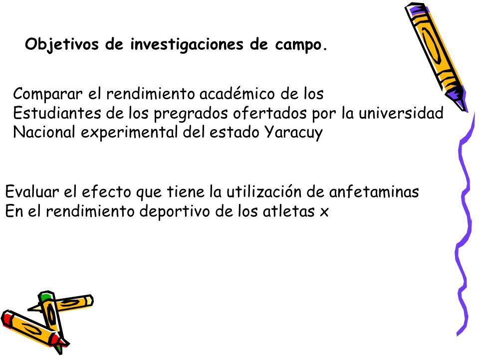 Objetivos de investigaciones de campo.