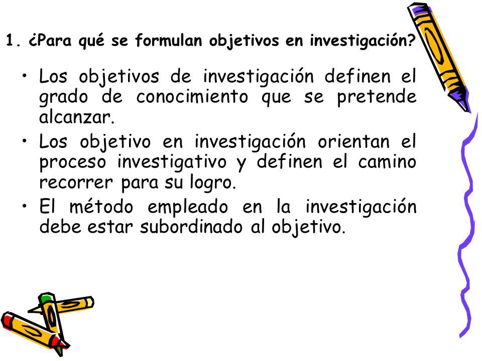 1. ¿Para qué se formulan objetivos en investigación