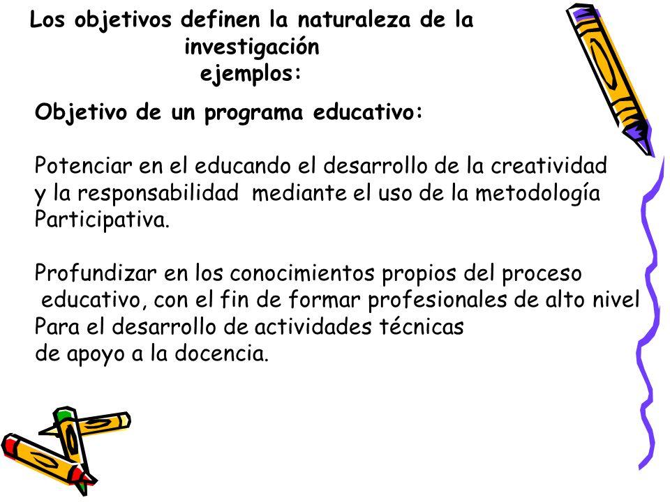 Los objetivos definen la naturaleza de la investigación ejemplos: