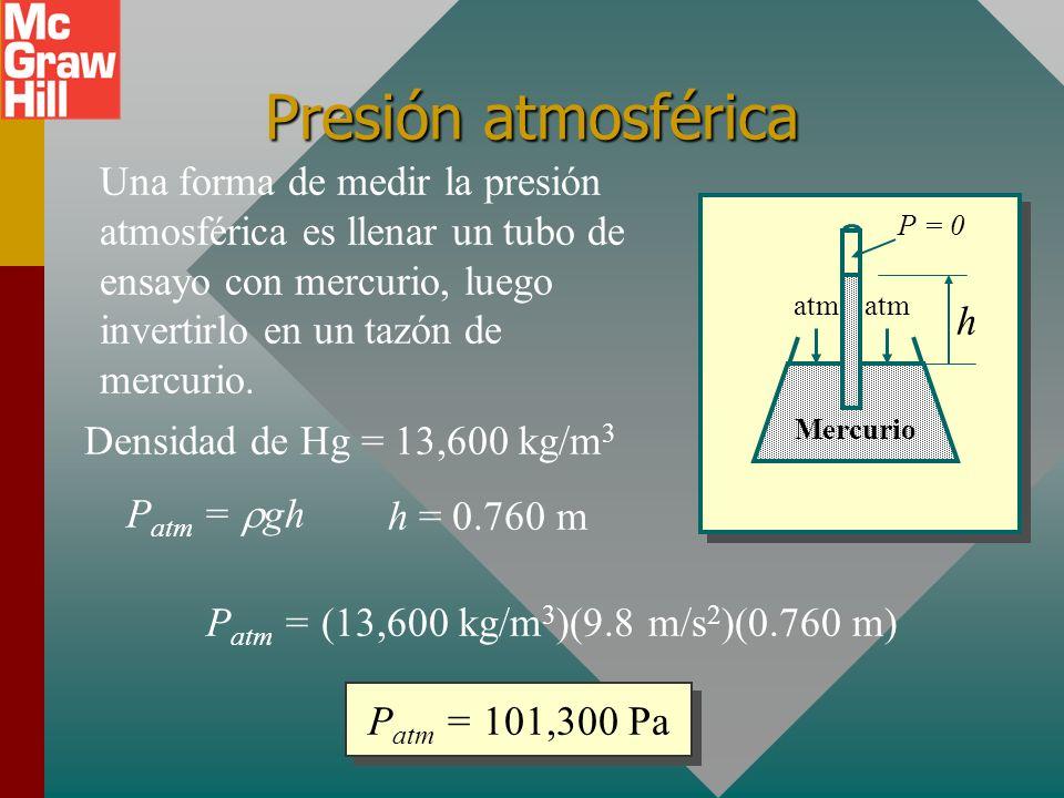Presión atmosférica Una forma de medir la presión atmosférica es llenar un tubo de ensayo con mercurio, luego invertirlo en un tazón de mercurio.