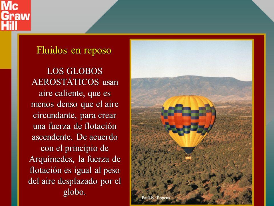 LOS GLOBOS AEROSTÁTICOS usan aire caliente, que es menos denso que el aire circundante, para crear una fuerza de flotación ascendente. De acuerdo con el principio de Arquímedes, la fuerza de flotación es igual al peso del aire desplazado por el globo.