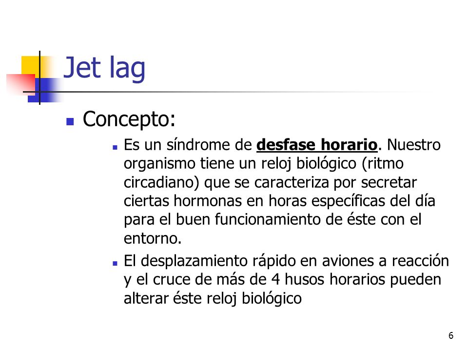 Jet lag Concepto: