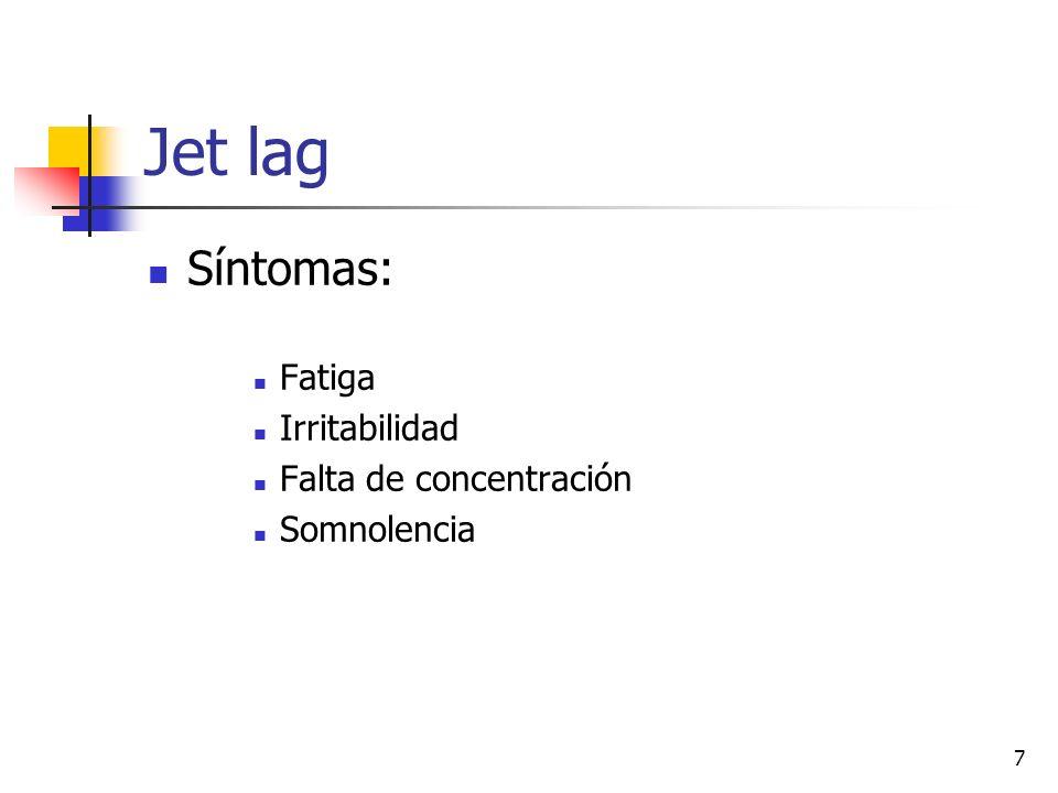 Jet lag Síntomas: Fatiga Irritabilidad Falta de concentración